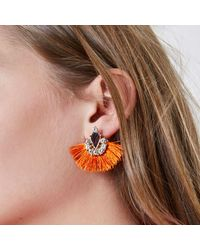 River Island - Orange Tassel Fan Diamante Gem Earrings Orange Tassel Fan Diamante Gem Earrings - Lyst