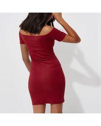 River Island - Dark Red Rib Popper Front Bardot Mini Dress - Lyst
