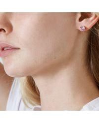 River Island - Pink Crystal Round Stud Earrings - Lyst