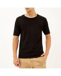 River Island - Black Mesh Detail Short Sleeve Jumper for Men - Lyst