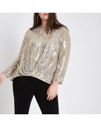 9916234f4147e8 River Island Sequin Tuck Front Long Sleeve Top in Metallic - Lyst