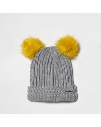 River Island - Gray Light Grey Knit Pom Pom Ear Beanie Hat - Lyst