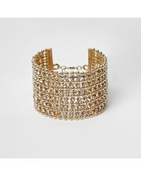 River Island | Metallic Gold Tone Bead And Diamante Cuff Bracelet | Lyst