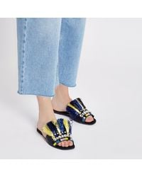 River Island - Dark Blue Fringe Embellished Sandals - Lyst