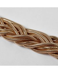 River Island | Metallic Gold Tone Snake Chain Plaited Necklace | Lyst