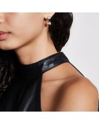 River Island - Metallic Tone Peach Jewel Stone Drop Earrings - Lyst