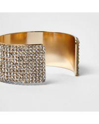 River Island - Metallic Gold Rhinestone Encrusted Chunky Cuff Bracelet - Lyst