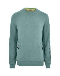 River Island - Blue Ri Active Teal Crew Neck Sweatshirt for Men - Lyst