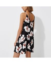 River Island - Black Floral Cross Strap Slip Dress - Lyst