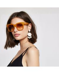 River Island Yellow Square Frame Oversized Sunglasses
