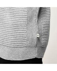 River Island - Gray Light Grey Textured Roll Neck Jumper for Men - Lyst