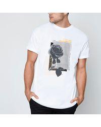 River Island - White Mono Rose Print Short Sleeve T-shirt for Men - Lyst