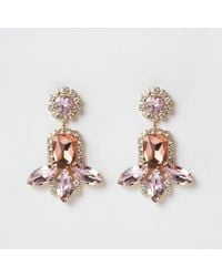 River Island - Pink Gold Tone Jewel Tiered Drop Earrings - Lyst