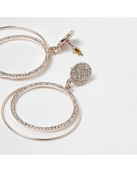 River Island | Metallic Rose Gold Tone Pave Hoop Drop Earrings Rose Gold Tone Pave Hoop Drop Earrings | Lyst