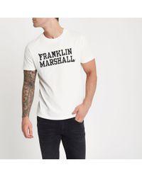 River Island - Franklin & Marshall White Print T-shirt for Men - Lyst