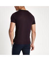 River Island - Red Dark Knit Block Print Slim Fit T-shirt for Men - Lyst