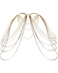 River Island - Metallic Gold Tone Draped Shoulder Harness - Lyst