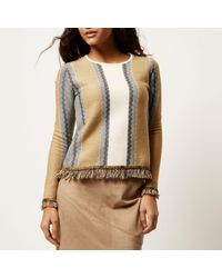 River Island - Brown Tan Stripe Fringed Sweater - Lyst