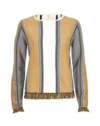 River Island - Brown Tan Stripe Fringed Sweater - Lyst