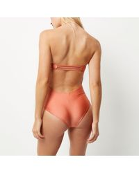 River Island - Light Pink Knot Bandeau Swimsuit - Lyst
