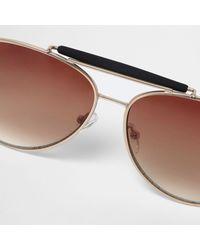 River Island - Metallic Gold Contrast Brow Bar Aviator Sunglasses - Lyst