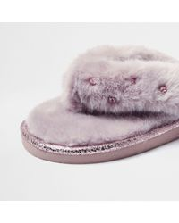 River Island - Pink Faux Fur Diamanté Flip Flop Slippers - Lyst