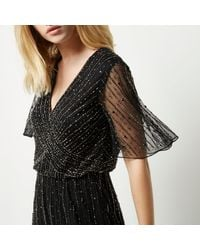 River Island - Black Embellished Chiffon Maxi Dress - Lyst