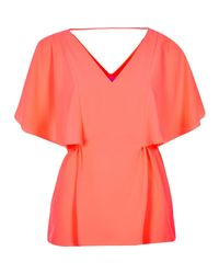 River Island - Orange Coral Cape Back V-neck T-shirt - Lyst