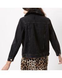 River Island   Black Denim Jacket With Faux Fur Collar   Lyst