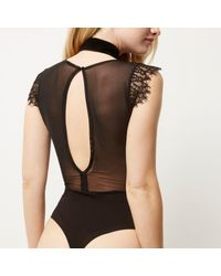 River Island - Black Lace Bodysuit - Lyst