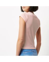River Island - Blue Light Pink '90s Ribbed T-shirt - Lyst