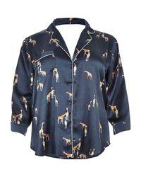 River Island | Blue Plus Navy Giraffe Print Satin Pyjama Shirt | Lyst