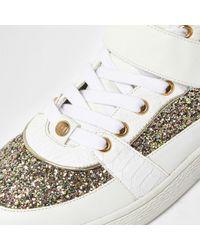 River Island - White Glitter Panel Hi Tops - Lyst