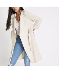 River Island - Natural Cream D-ring Duster Coat - Lyst