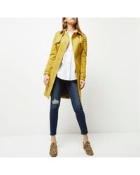 River Island - Yellow Tie Waist Trench Coat - Lyst