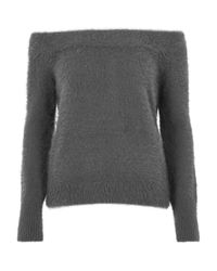 River Island | Gray Charcoal Grey Fluffy Bardot Jumper | Lyst