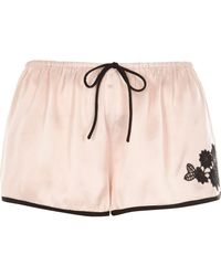 River Island - Blush Pink Floral Applique Pyjama Shorts - Lyst