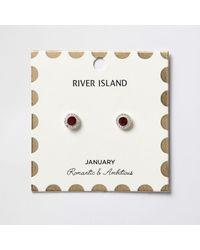 River Island | Red January Birthstone Stud Earrings | Lyst