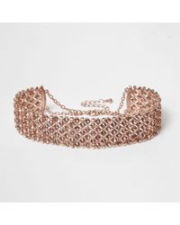 River Island - Multicolor Rose Gold Tone Sparkly Choker - Lyst