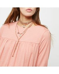 River Island - Metallic Gold And Orange Charm Layer Bolo Necklace - Lyst
