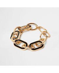 River Island - Metallic Gold Tone Black Chain Link Bracelet - Lyst