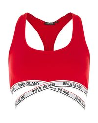 River Island - Red Marl Sporty Crop Top Bra - Lyst