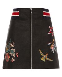 River Island | Black Faux Leather Embroidered Zip Mini Skirt | Lyst