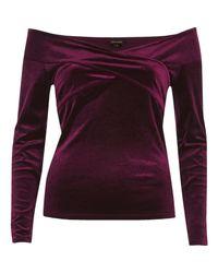 River Island - Red Burgundy Velvet Bardot Wrap Top - Lyst