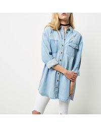 River Island - Light Blue Oversized Denim Shirt - Lyst