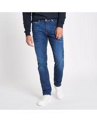 River Island - Blue Mid Slim Fit Dylan Jeans for Men - Lyst