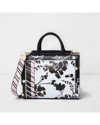 River Island | Black And White Floral Top Bar Tote Bag | Lyst