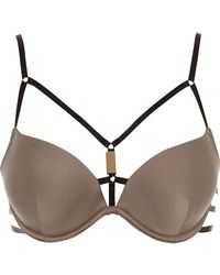 River Island - Mocha Brown Strappy Plunge Bikini Top - Lyst
