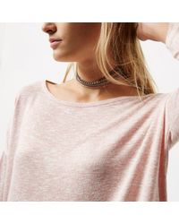 River Island - Metallic Silver Tone 3 Row Chain Choker Set - Lyst