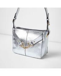 River Island - Silver Metallic Leather Chain Shoulder Bag - Lyst